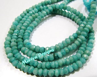 AAA Quality Genuine Amazonite Rondelle Faceted Beads , 4mm Size High Quality Amazonite Beads , Length 13 inch long , Micro Faceted Gemstones