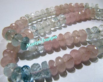 """Top Quality Far Size Morganite Aquamarine Beads, Rondelle Faceted Multi Aqua Beads, Size 10 to 12mm, Strand 7"""" long, Natural Gemstone Beads"""