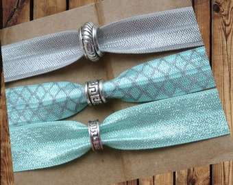 Beaded Hair Ties/Elastics No Crease Grey, Mint and Grey Trefoil, Mint Shimmer