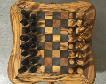 Chess Game Set from Olive Wood with hand carved pieces, Rustic Chess Board, Hand Carved Chess, Gift Idea
