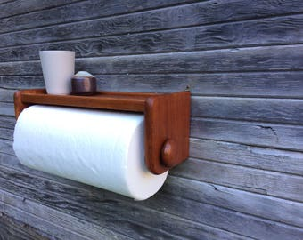 Mid Century Teak Paper Towel Holder Shelf