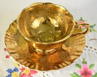James Kent old foley tea cup and saucer, gold brocade, rose etch, gold gild