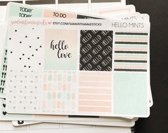 VERTICAL Hello Mints use with Erin Condren Lifeplanner™ Weekly Kit Stickers