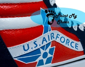 U.S. Air Force, Vans, Sk8Hi, Custom Name, hand painted shoes, Air Force shoes, free shipping in the US
