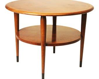 Mid Century Modern LANE ACCLAIM TABLE Round Accent vintage end side drum 50s 60s danish dovetail walnut ash