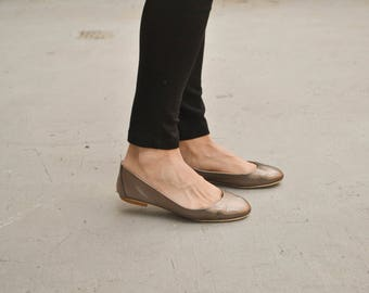 Bronze Leather Ballet Flats