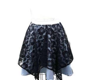 Silver and Black skater skirt, gothic skirt, circle skirt, handkerchief hem, size M