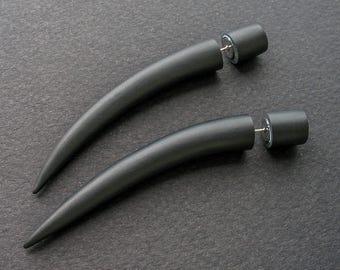 Fake Ear Tapers, Fake Gauge Earrings, Talon Ear Plugs, Black Faux Gauges, Fake Plugs, Tribal Gauges, Tusk Earrings for Men, Ear Gauges
