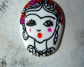 Large cabochon Frida painted hand-painted ceramic pendant jewelry-roller primer scrapbooking-cabochon oval-room single