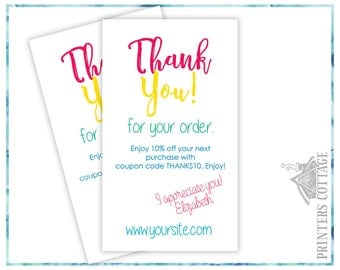 Thank You Cards - Package Inserts – Thank You for your Order Cards - Shipping Inserts - TYBC-003