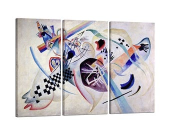 Painting on canvas with Tris Frame Wassily Kandinsky Composition # 224, On the white
