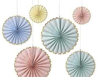 Pastel And Gold Foil Paper Fans, Paper Pinwheels, Paper Decorations, Window Display, Baby Shower, Bridal Shower, Wedding Decorations, Fans