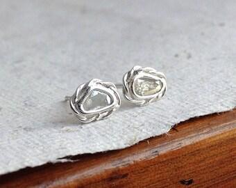 Natural Diamond slice silver earrings