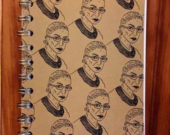 Ruth Bader Ginsburg Portrait Handmade Journal, Notebook, Spiral Bound, Kraft, 60 pages, pocket, sketch pad