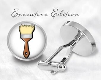 Paintbrush Cufflinks - Painter Cuff Links - Artist Cufflink - Art Cufflinks (Pair) Lifetime Guarantee (S0475)