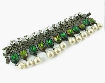 Signed 'David Mandel' Faux Pearl & Crystal Bracelet