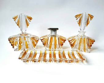 Czech Karl Palda Art Deco 1930's Cut To Clear Glass Vanity Set ~ Vintage Bohemian Amber Parfume Bottles & Trays