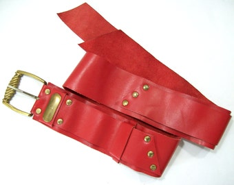 Red Leather Belt, Vintage Leather Belt, Women's Leather Belt