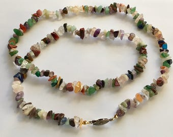"""Genuine Gemstone Chip Style Necklace, Vintage Gemstone Chip Strand Necklace, Gemstone Necklace, Assorted Stone Chip Strand, Approx 29"""" Long"""