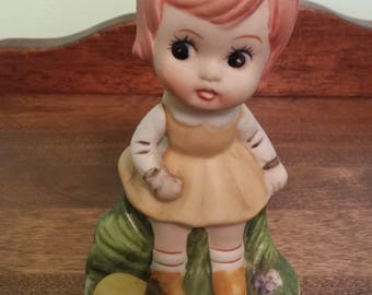 Little Girl with turtle- Ceramic figure