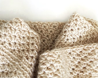 COWL SCARF | Extra Soft and Cozy, Intricate, Crochet, Handmade, with Contrasting Textured Stripes