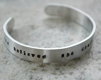 Metal Stamp Cuff Bracelet: She Believed She Could Sew She Did - perfect gift for quilter and sewist