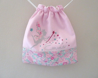 bag child Liberty pouch fairy Liberty Betsy Amélie customizable name rose