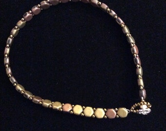 Ankle bracelet  using Hexagon copper and bronze beads