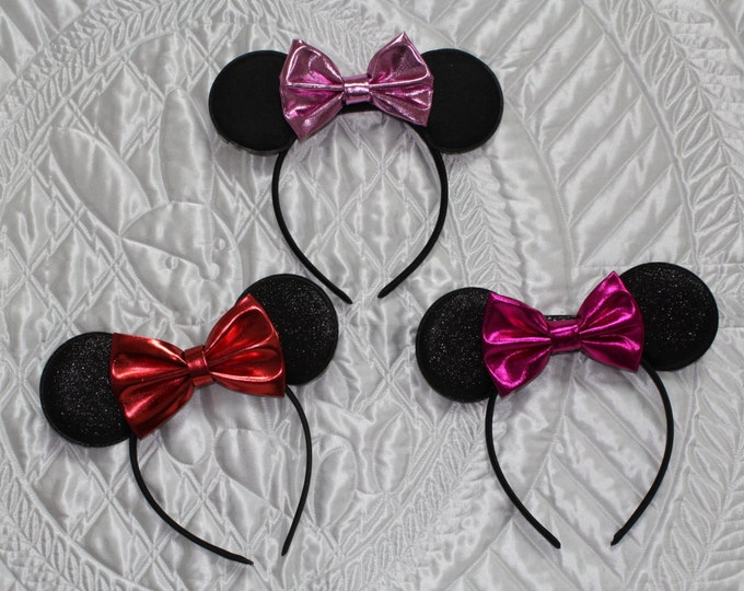 Minnie Mouse ears, Minnie Mouse Headband with ears, Disney headband, Red Minnie Mouse headband, Hot Pink Minnie Mouse ears headband