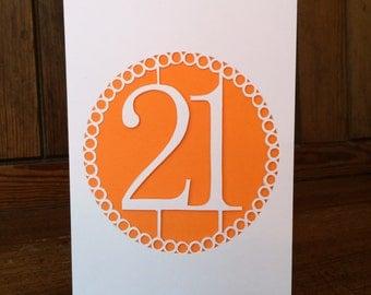 Handmade Papercut 21st Birthday Card
