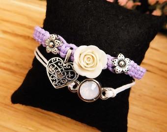Purple bracelet Flower bracelet Roses Gift for her Charm bracelet Heart jewelry Violet Best friend gift Womens gift Summer jewelry floral