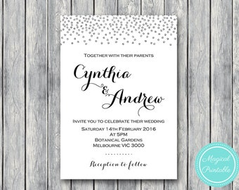 Silver Confetti Personalized Wedding Invitations, Bridal shower invitation, Printable Wedding, Silver Invitation, WI49 TH63