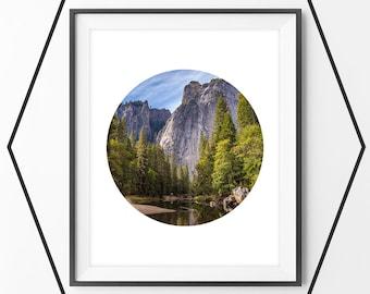 Mountains Print, Tree River Blue Sky Art Print, Mountain Photography, Circle Print, Printable Wall Art, Landscape, Black and White Print