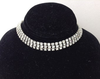Three Tiered Clear Rhinestone Choker/Necklace