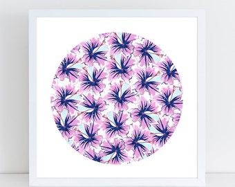 FLORAL ART PRINT- Pink Hibiscus- Tropical Art- Beach Art- Flower Print- Floral Art Print- Flower Art- Beach Decor- Tropical Decor- Hibiscus
