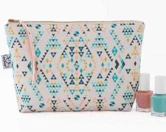Large Make up bag/Ethnic makeup bag/Ethnic cosmetic bag/Original ANJESYdesign.