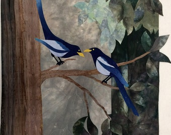 Art Quilt, Original Fiber Art Wall Hanging, Blue Birds of Happiness, Hand dyed Fabric, Fabric Art, Magpies, Tree