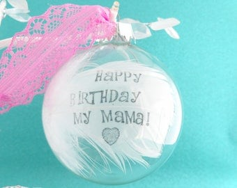 Real White Feather Glass Bauble. Personalised Name / Date Round Ball Christmas Bauble /Glass Tree Ball Decoration Custom Memory Keepsake