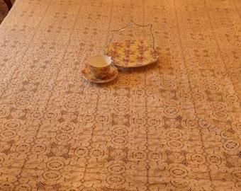 "Large Vintage Beige Cotton Lace Tablecloth / Bed Topper 64"" x 80"""