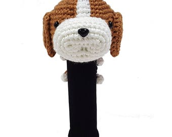 Hand Stitched Yarn Animal Driver/Wood Golf Head Cover - Beagle