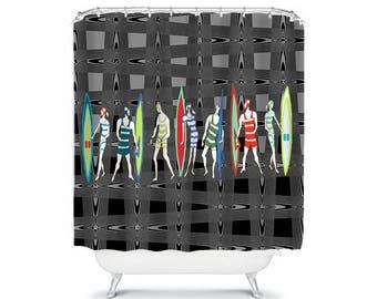 black and gray bathroom decor retro shower curtain blue shower curtain surfing decor teen boy shower