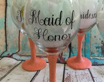 Bridesmaid Gift Glittered Stem Wine glasses