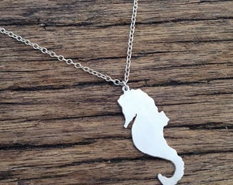 Seahorse Silhouette necklace handmade in sterling silver