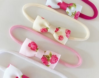 Vintage rose bow on nylon 'one size fits all, headband (choice of colour) baby headbands, toddler headbands