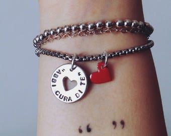 """Stainless steel bracelet/necklace """"Take care of Yourself""""/cuore red/colored tassel"""