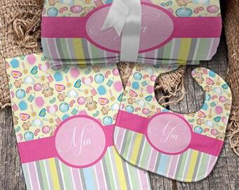 Mia 3 Piece Monogrammed Baby Set (Blanket, Bib, Burp Cloth)