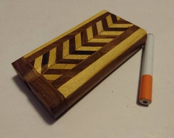 Wooden Spring Loaded Dugout with Metal Cigarette One Hitter Pipe