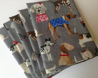 Dog Lover Napkins, Dog Breed, 12x12 Cotton Napkins, Set of 6