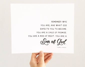 Thomas S Monson quote, remember who you are,  hand lettered art print, Letters and Laurels, Lds Art