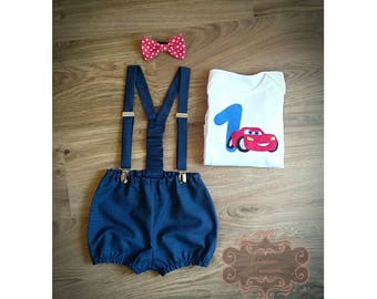 Cake smash outfit, Boy 1st birthday outfit, Diaper cover suspender set, Photo props, lightning mcqueen birthday, Cars birthday, Bodysuit 1st